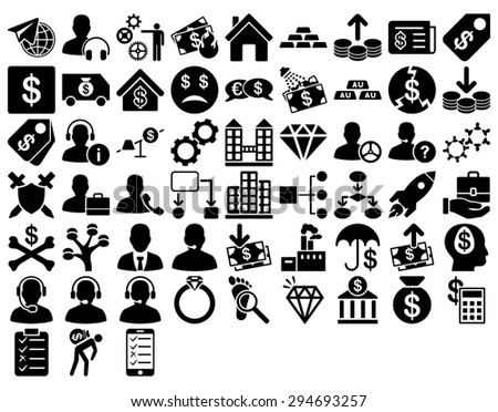 Commerce Icon Set. These flat icons use black color. Glyph images are isolated on a white background.  - stock photo