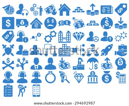 Commerce Icon Set. These flat icons use cobalt color. Glyph images are isolated on a white background.  - stock photo
