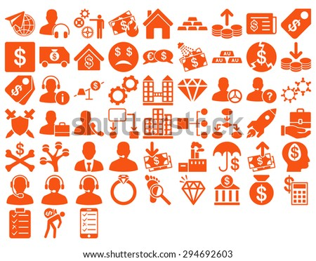 Commerce Icon Set. These flat icons use orange color. Glyph images are isolated on a white background.  - stock photo