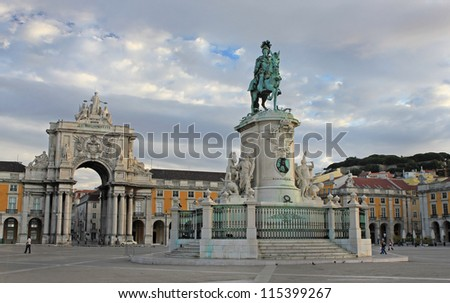 Commerce Square and King Jose statue in LIsbon at Sunrise - stock photo