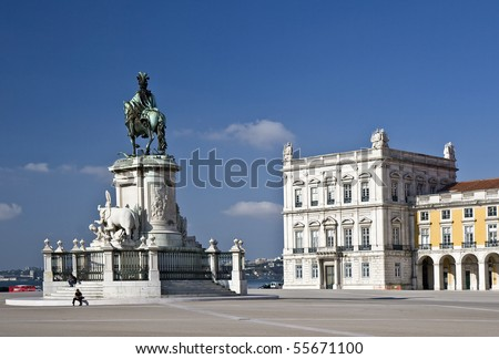 Commerce Square, commonly known as Terreiro do Paço (Palace Square), is located near the Tagus River in the city of Lisbon - stock photo