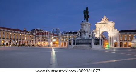 Commerce Square in Lisbon, Portugal - stock photo