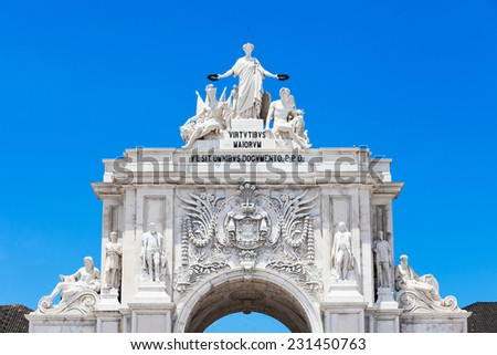 Commerce Square is located in the city of Lisbon, Portugal - stock photo