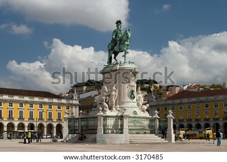 Commerce square, Lisbon - stock photo