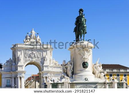 Commerce Square (Portuguese: Praca do Comercio) in Lisbon, Portugal. - stock photo