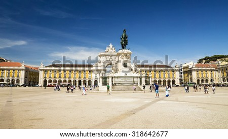 Commerce square (Praca do Comercio) in Lisbon, Portugal - stock photo