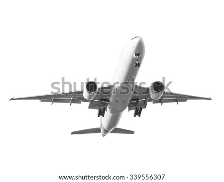 Commercial air plane isolated on white background with clipping path - stock photo