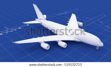 Commercial Aircraft Blueprint. Part of a series. - stock photo
