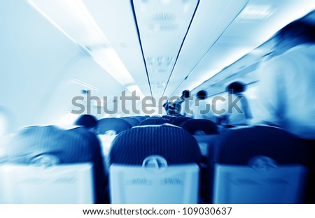 Commercial aircraft interior - stock photo