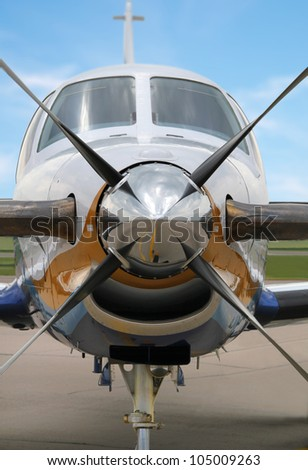Commercial aircraft, seen from the front - stock photo
