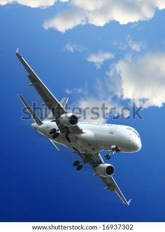 Commercial aircraft taking off - stock photo