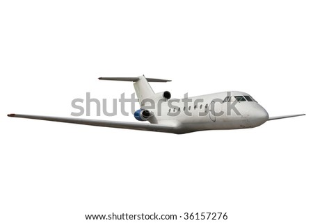 Commercial airliner isolated over white background - stock photo