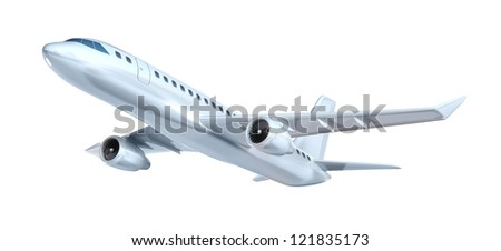 Commercial airplane concept. My own design. Isolated on white - stock photo
