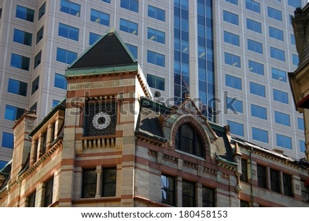 Commercial building and skyline at Boston city center  - stock photo