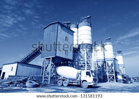 commercial concrete mixing station in north china - stock photo