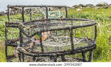 Commercial crab pots near the sea in Haines Alaska before the season opens. - stock photo