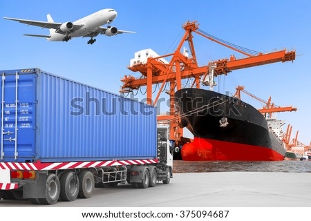 Commercial delivery cargo container truck on road and Aircraft flight at airport link with container ship being unloaded in the harbor transportation concept  - stock photo
