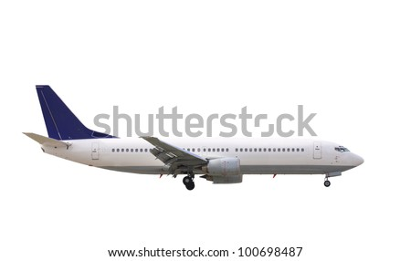 commercial jet plane isolated on white - stock photo