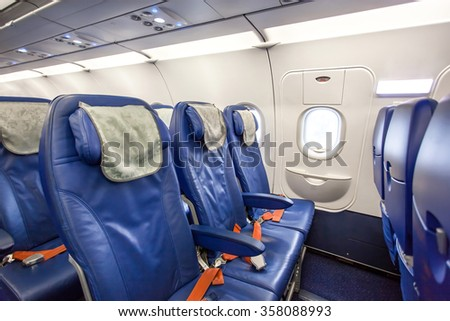Commercial passengers airplane interior