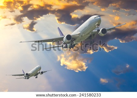 Commercial plane taking off - stock photo
