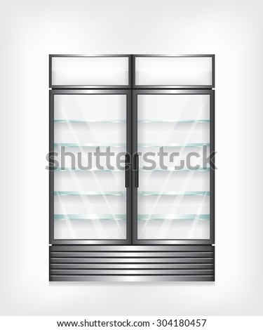 Commercial refrigerator with two door and glass shelves - stock photo