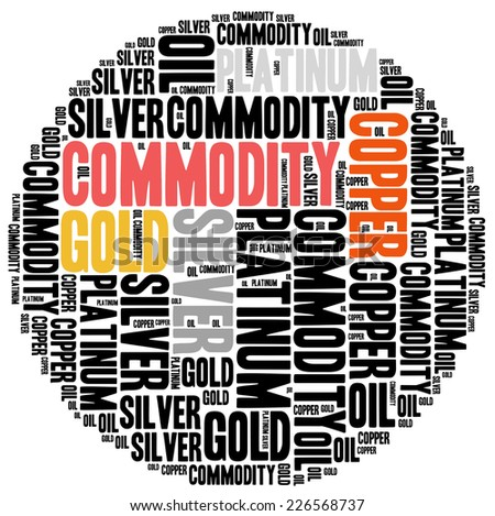 Commodity stock market or trading concept. Word cloud illustration. - stock photo