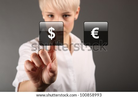 Commodity trading - currency trading dollar euro concept - stock photo