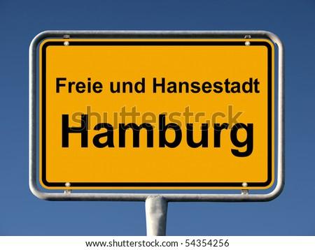 Common city sign of Hamburg, Germany - stock photo