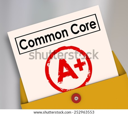 Common Core report card evaluating the performance and success of the new school or education guidelines and standards - stock photo