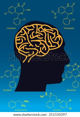 Common medication affecting the brain - stock photo