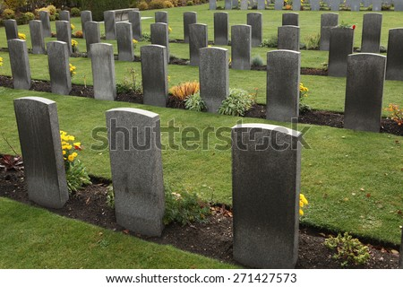 Commonwealth War Cemetery with graves of UK and Allied soldiers fallen during World War II at the Olsany Cemetery in Prague, Czech Republic. - stock photo