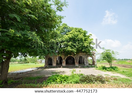 Communal house in the village, an ancient temple called Go Tao in Tan Dong, Go Cong, Tien Giang Province, built in 1907. The ancient temple with banyan tree is the symbol of rural village in Vietnam. - stock photo