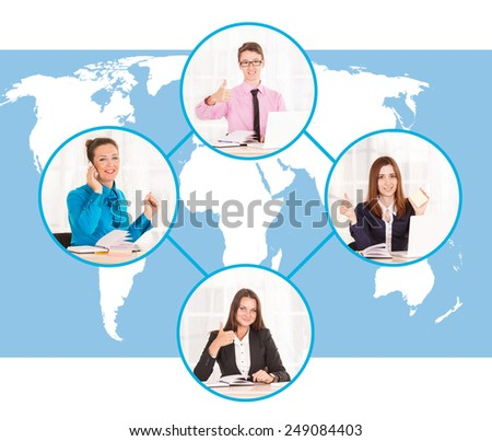 Communication and networking concept, social network. Collage of business people representing global communication. Global communications. International communication relationship world map background - stock photo