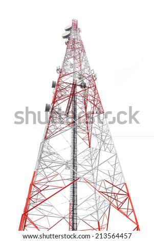 communication antenna tower - stock photo