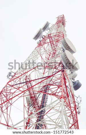 communication antenna tower isolated on white - stock photo