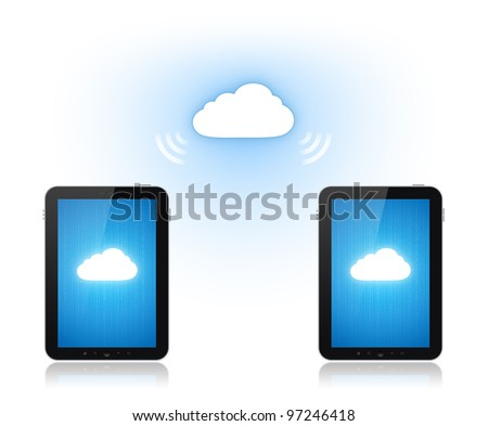 Communication between two mobile phone via cloud-computing connection. Conceptual illustration. Isolated on white. - stock photo