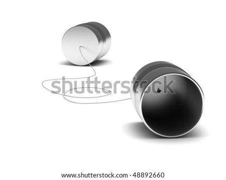 Communication. Can phone isolated on white background. High quality 3d render. - stock photo