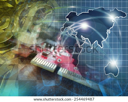 Communication collage with map, digits and mail signs. - stock photo