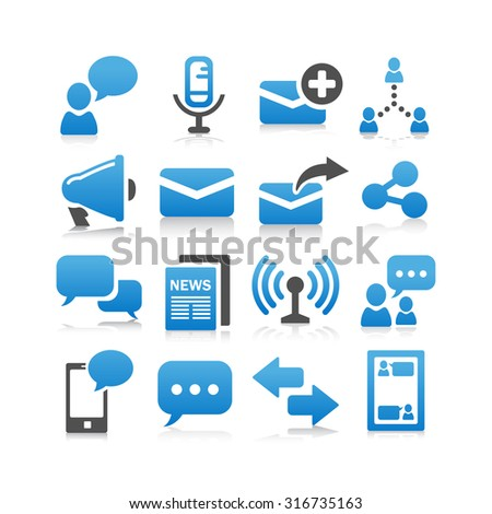 Communication concept icon set - Flat Series - stock photo