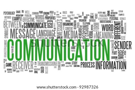 Communication concept in word tag cloud isolated on white background - stock photo