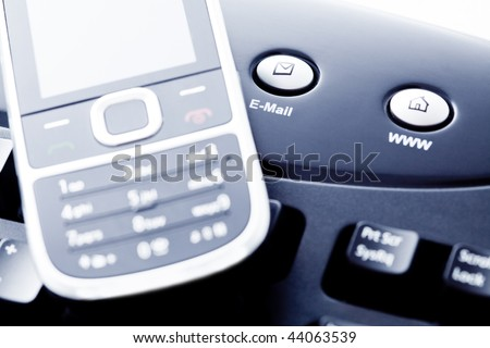 Communication concept - mobile phone internet and e-mail - stock photo