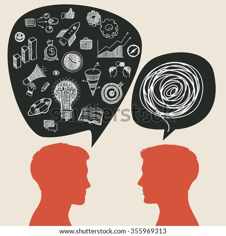 Communication concept with business doodles in speech bubble.  - stock photo