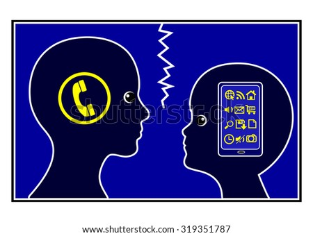 Communication gap between adults and kids. Modern communication devices and the phone of the good old days separating two generations - stock photo