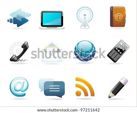 communication icon set - stock photo