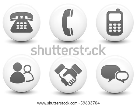 Communication Icons on Round Black and White Button Collection Original Illustration - stock photo