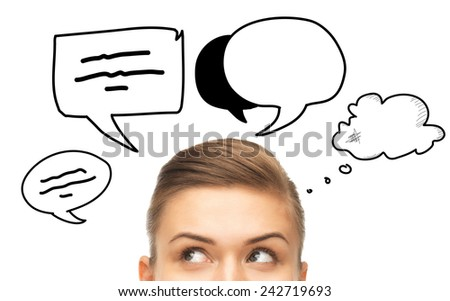 communication, idea and people concept - close up of woman looking up to text bubbles - stock photo