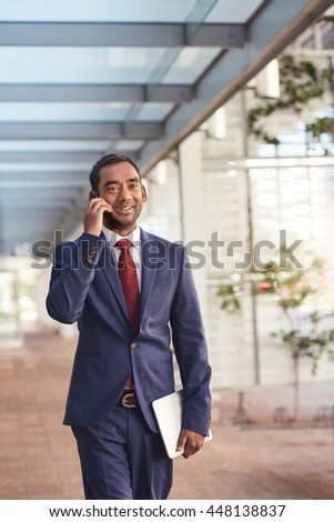 Communication is key to his success - stock photo