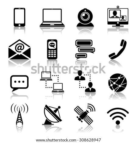 Communication media and network broadcasting icons black set isolated  illustration - stock photo