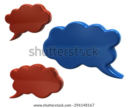 Communication orange and blue speech bubbles  - stock photo