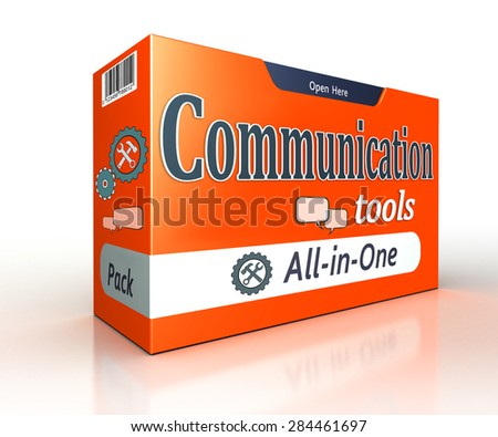 communication tools orange pack concept on white background. clipping path included  - stock photo
